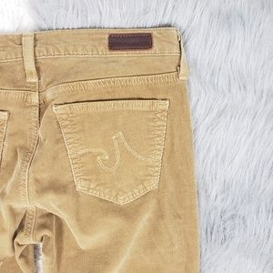 Ag Adriano Goldschmied Pants - AG Tan Camel Ballad Slim Bootcut Corduroy Pants